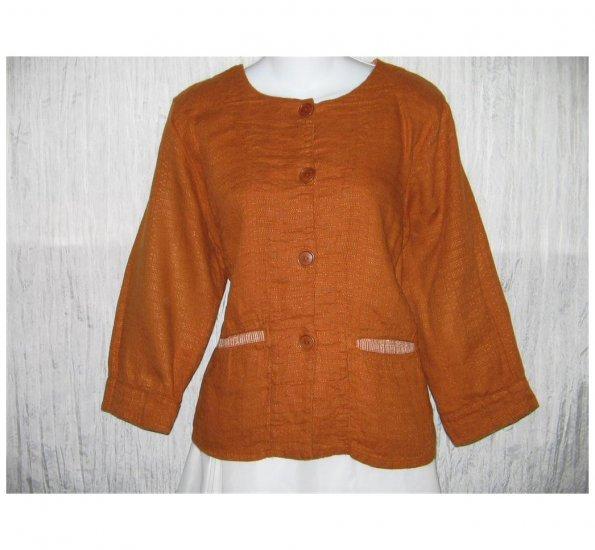 New FLAX Boxy Burnt Orange LINEN Jacket Top Jeanne Engelhart Small S