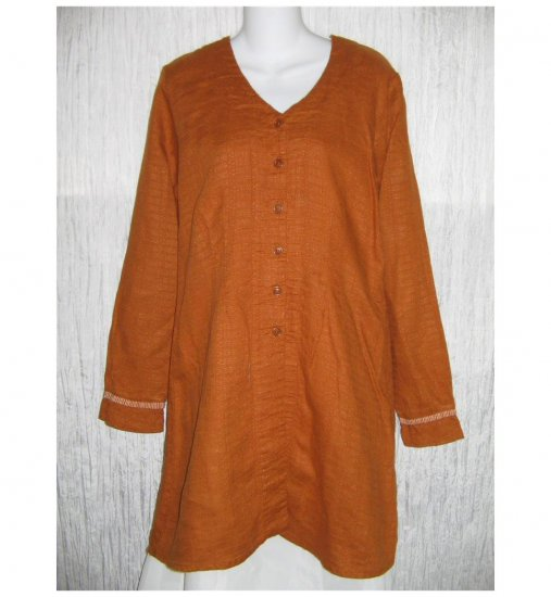 New FLAX Long Burnt Orange LINEN Jacket Top Jeanne Engelhart Small S