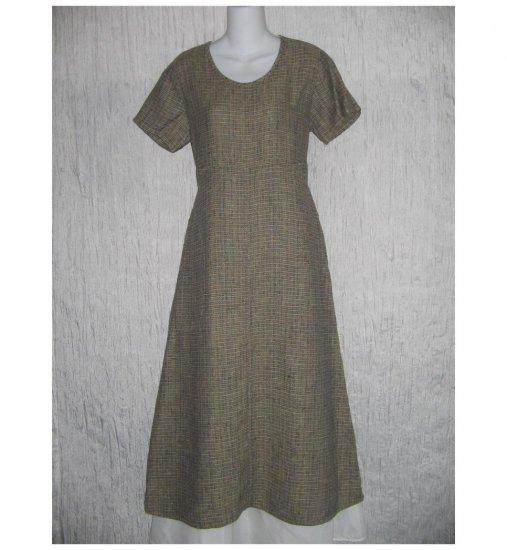 New Flax Shapely Textured Earthy LINEN Dress Jeanne Engelhart Small S