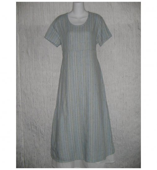 New Flax Shapely Textured Blue LINEN Dress Jeanne Engelhart Small S