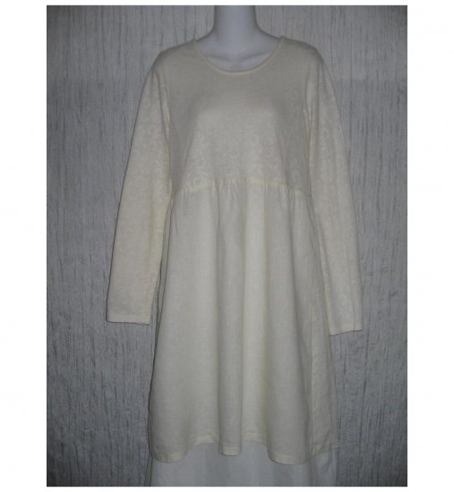 New Flax Shapely White LINEN Lace Dress Jeanne Engelhart Small S