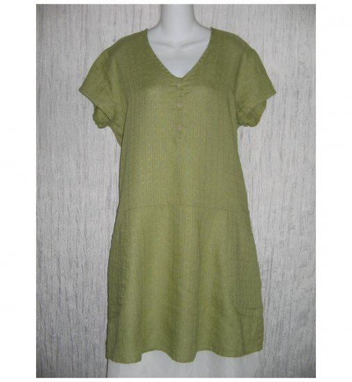 New Flax Soft Green LINEN Tunic Dress Jeanne Engelhart Small S