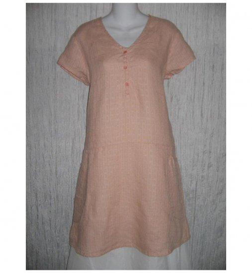 New Flax Soft Pink LINEN Tunic Dress Jeanne Engelhart Small S