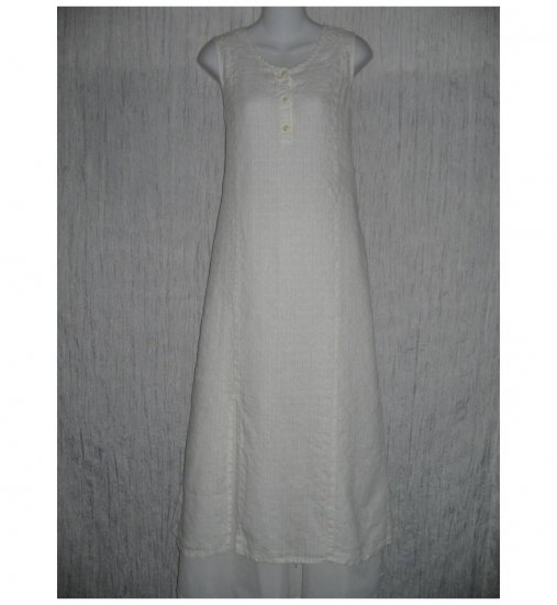 New Flax Soft White LINEN Slip Dress Jeanne Engelhart Small S