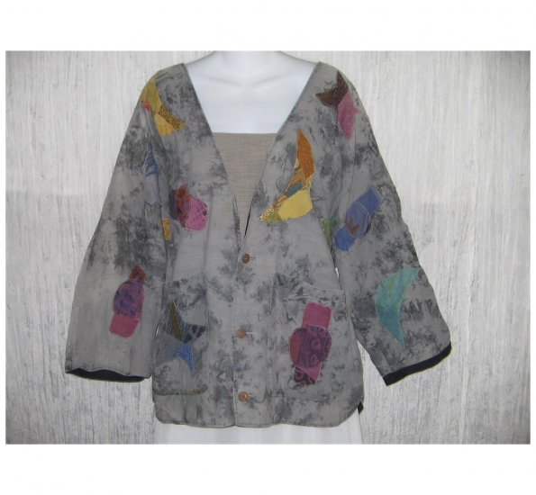 Natural Clothing Patchwork Button Jacket Top One Size OS