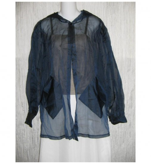 Celia Tejada Blue Shear Open Front Hooded Jacket One Size OS