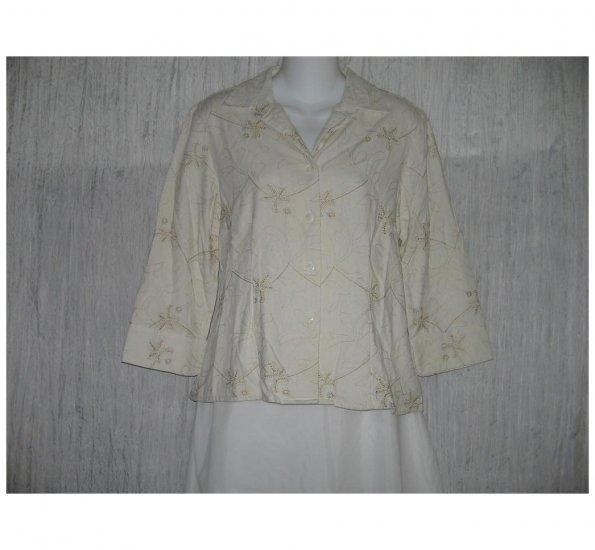Keren Hart Shapely Silk Button Top Shirt Medium M