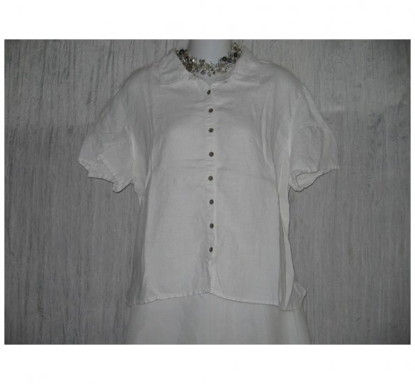 J. Jill White Linen Button Shirt Tunic Top Large L