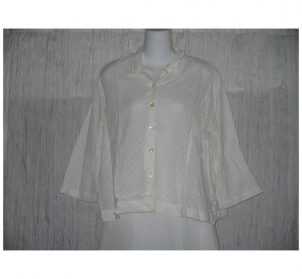 April Cornell White Dotted Cotton Button Shirt Tunic Top Large L