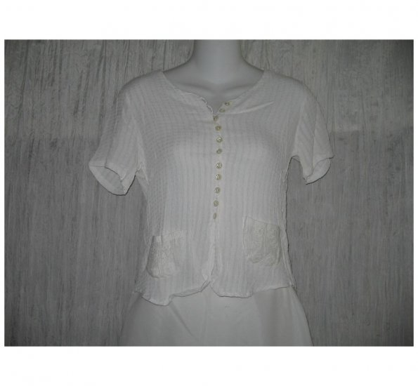 April Cornell Shapely White Rayon Button Shirt Tunic Top Small S
