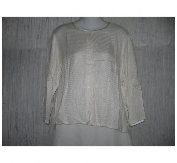 April Cornell Soft White Rayon Button Shirt Tunic Top Small S