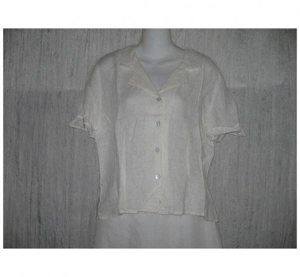 Solitaire White Linen Button Shirt Tunic Top Large L