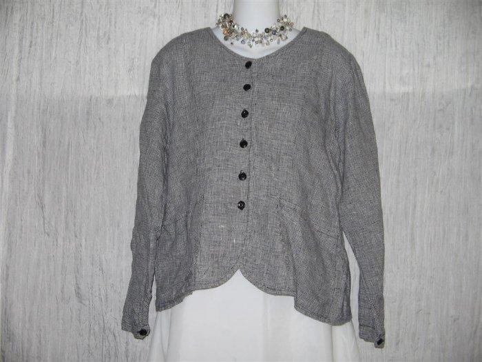 FLAX Black White Linen Shirt Jacket Jeanne Engelhart Small S