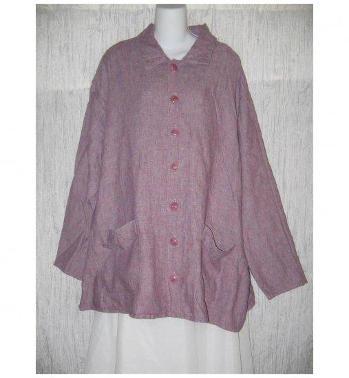 Jeanne Engelhart FLAX Purple Crossweave Linen Tunic Top Shirt Jacket 2G