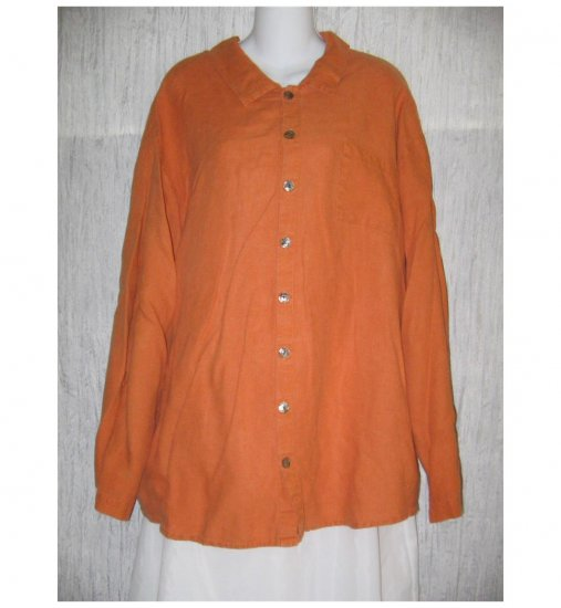 FLAX Orange Linen Button Shirt Tunic Top Jeanne Engelhart Large L