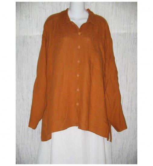 Jeanne Engelhart FLAX Burnt Orange Linen Button Shirt Tunic Top Generous G