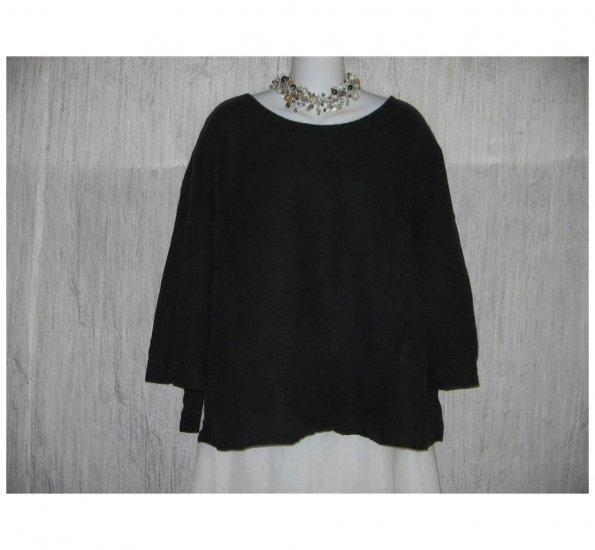 FLAX Skirted Black Linen Pullover Shirt Tunic Top Jeanne Engelhart 1G