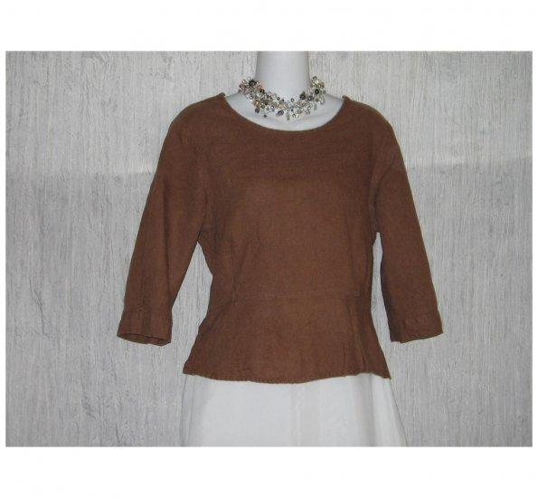 FLAX Skirted Brown Linen Pullover Shirt Tunic Top Jeanne Engelhart Petite P