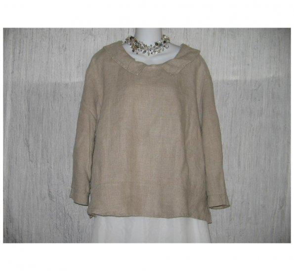 Jeanne Engelhart FLAX Skirted Linen Pullover Shirt Tunic Top Large L