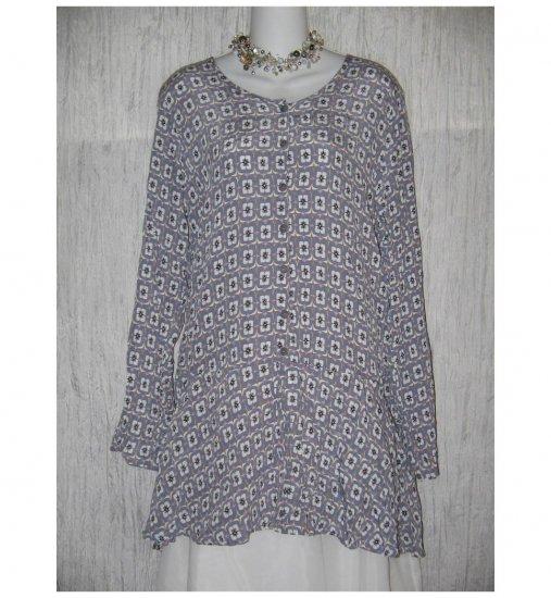 FLAX Purple Rayon Skirted Tunic Top Shirt Jeanne Engelheart Small S