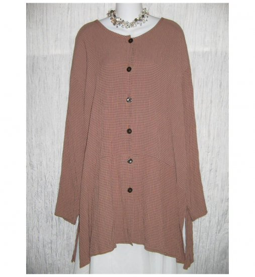 Flax by Jeanne Engelheart Chocolate Check Skirted Tunic Top Shirt Large L