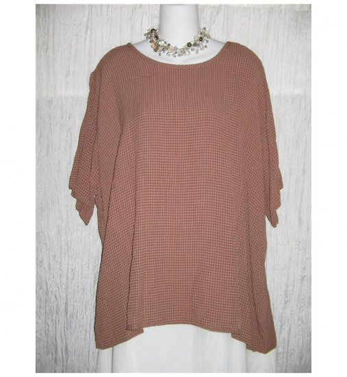 Flax by Jeanne Engelheart Chocolate Check Tunic Top Shirt Large L