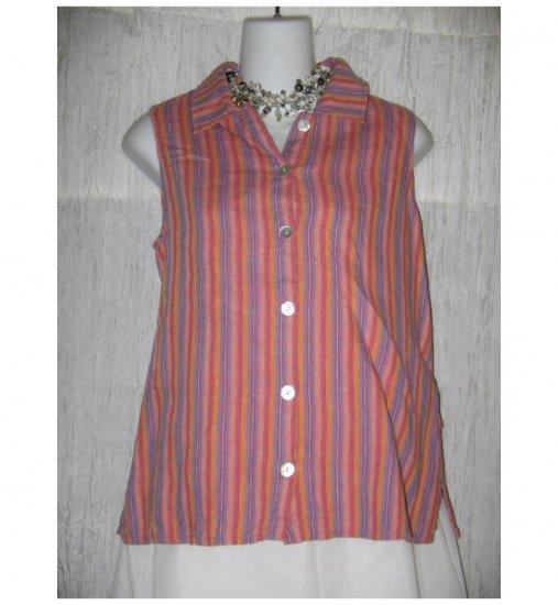Jeanne Engelhart FLAX Striped Linen Tank Top Shirt Petite P