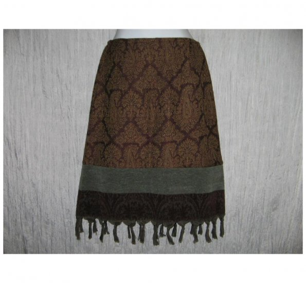 J. Jill Short Shapely Wool Tapestry Tassel Trim Skirt 6