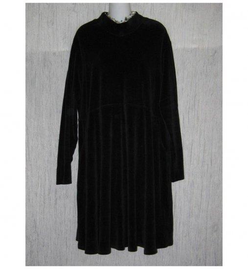 Jeanne Engelhart Flax Black Cotton Velor Dress Large L