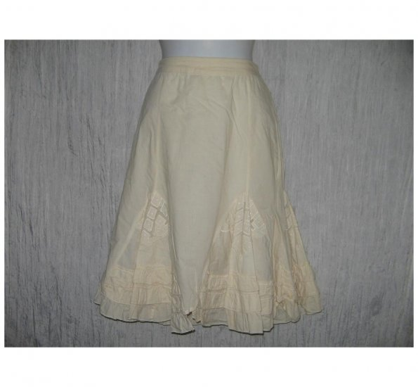 Angie Full Fluttery Cream Lace Ruffle Stitched Knee Skirt Large L