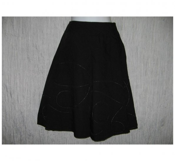 Talbots Full Fluttery Black Circle Stitched Knee Skirt 8