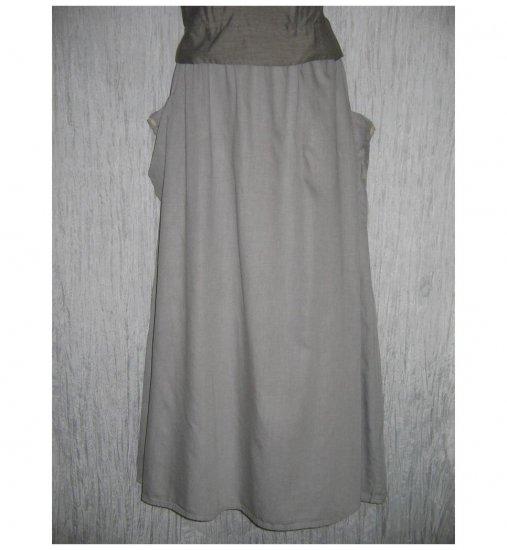NWT FLAX Long & Full Soft Cotton Gray Pocket Skirt Jeanne Engelhart 1G