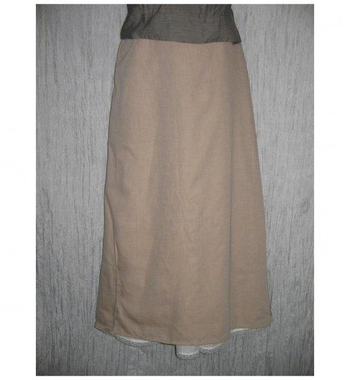 NWT FLAX Long & Full Soft Cotton Beige Button Skirt Jeanne Engelhart 1G