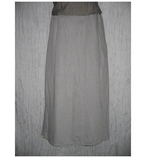 NWT FLAX Long & Full Soft Cotton Gray Button Skirt Jeanne Engelhart 1G