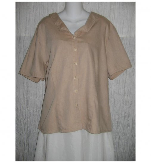 NWT FLAX Soft Cotton Beige Button Shirt Tunic Top Jeanne Engelhart 1G