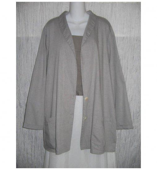 NWT FLAX Soft Cotton Gray Tunic Jacket Blazer Jeanne Engelhart 1G