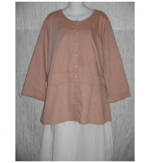 NWT FLAX Soft Shapely Cotton Blush Tunic Top Jacket Jeanne Engelhart 1G