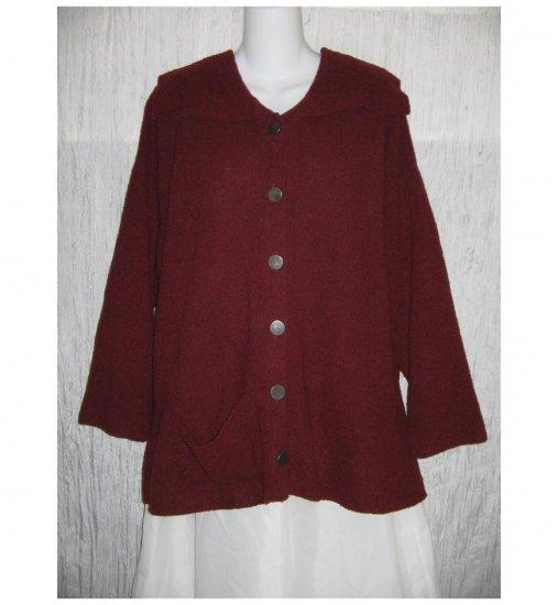 FLAX by Angelheart Merino Wool Cardigan Sweater Jeanne Engelhart Generous