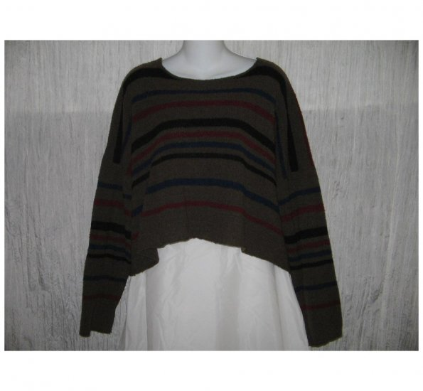 Flax by Angelheart Cropped Wool Lagenlook Sweater Jeanne Engelhart S M