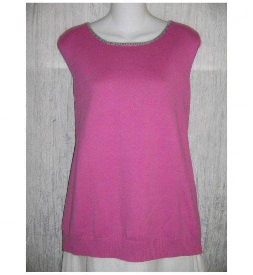 Quacker Factory Pink Sequin Trim Tank Sweater 1X