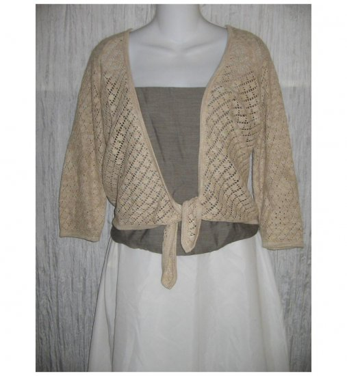 J. Jill Open Ecru Cotton Linen Lace Cardigan Sweater Small S