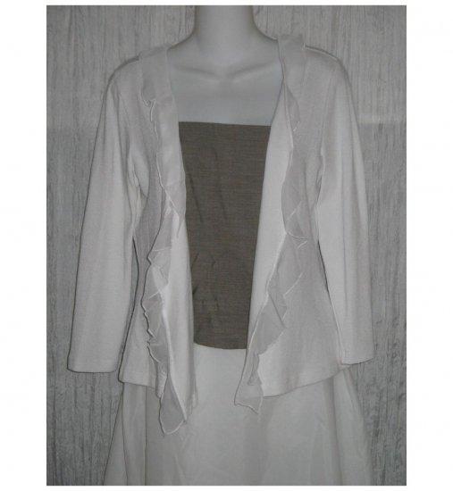 Nally & Millie Open White Ruffle Trim Cardigan Sweater X-Large XL