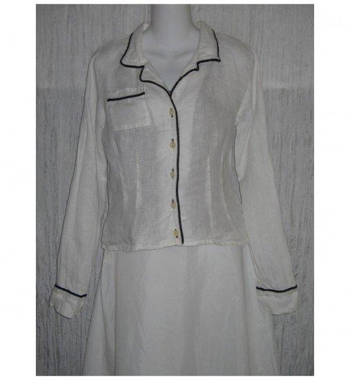 Solitaire Black Trimmed White Linen Button Shirt Tunic Top Medium M