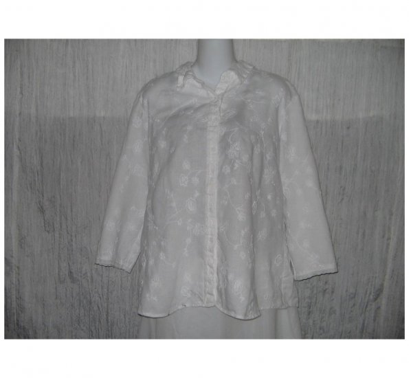 E-Col-O-Gie ecologie White Linen Button Shirt Tunic Top X-Large XL
