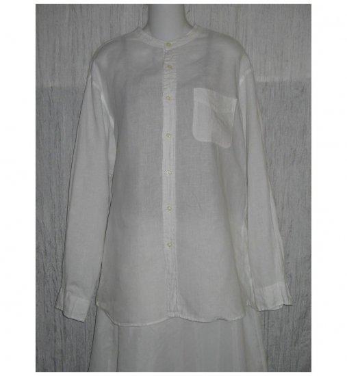 J. Crew White Linen Button Shirt Tunic Top Medium M