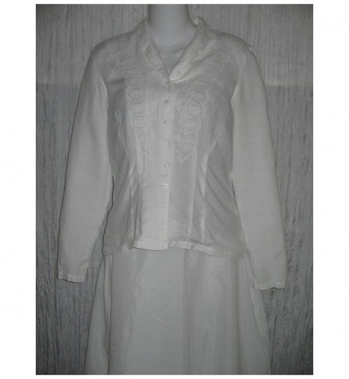April Cornell Trading White Embroidered Linen Button Shirt Tunic Top Small Petite SP