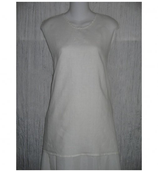 FLAX White Linen Tank Top Shirt 3 Generous 3G
