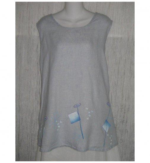 Jeanne Engelhart FLAX Blue Floral Linen Tank Top Shirt 2G