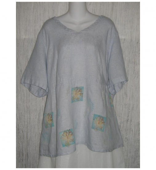 Jeanne Engelhart FLAX Blue Floral Linen Skirted Tunic Top Shirt 2G