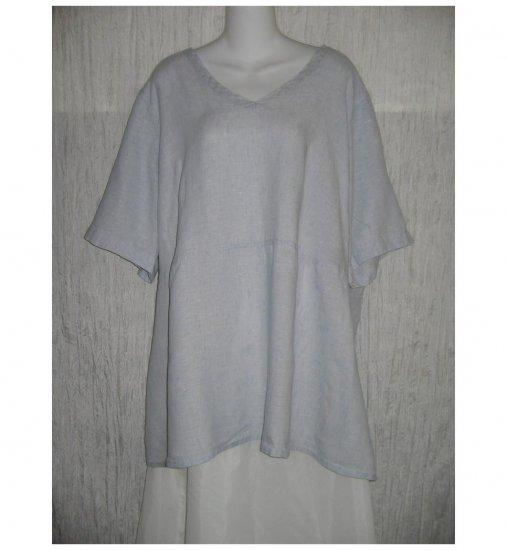 Jeanne Engelhart FLAX Shapely Blue Linen Skirted Tunic Top Shirt 3G